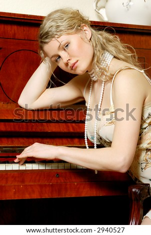 beautiful girl & piano