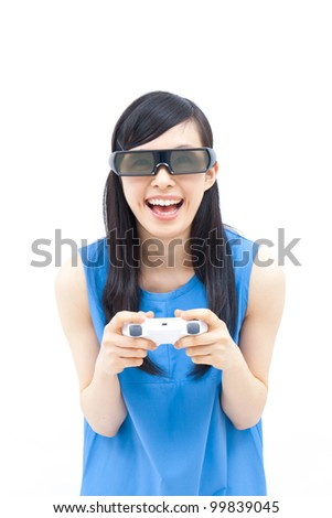 beautiful girl playing 3D video game
