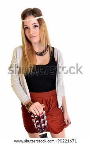 Beautiful Girl playing guitar on white background
