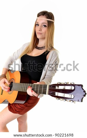 Beautiful Girl playing guitar on white background - stock photo