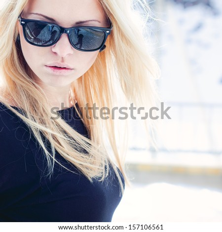 Beautiful girl portrait outdoor in sunrays - stock photo