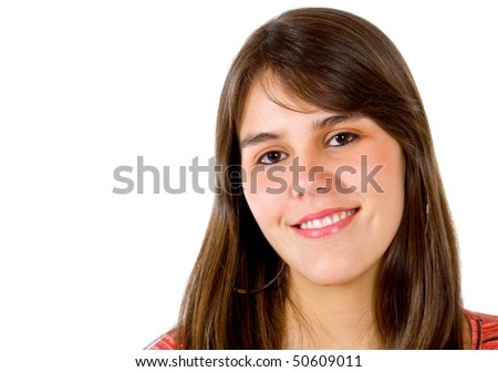 Beautiful girl portrait smiling - isolated over a white background