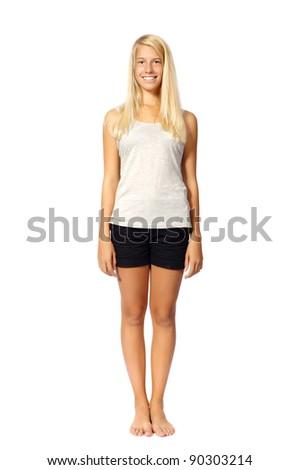 beautiful girl posing isolated on white background - stock photo