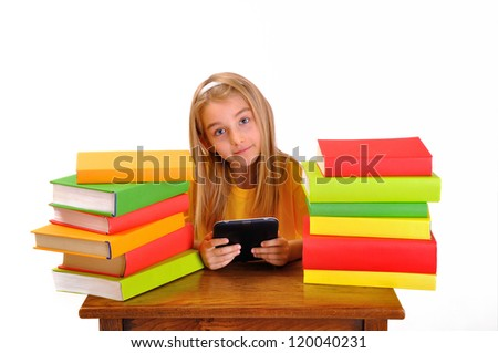 Beautiful girl reading e-book surrounded by books, isolated on white - stock photo