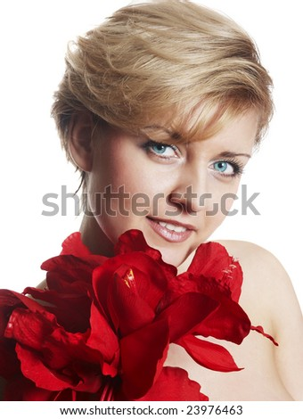 beautiful girl red flowers