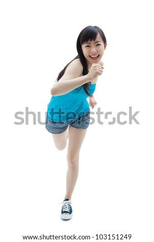 beautiful girl running isolated on white background