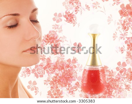 Beautiful girl's face and small perfume phial on abstract background - stock photo
