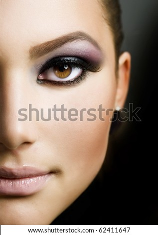 Beautiful Girl's Face.Perfect Makeup - stock photo