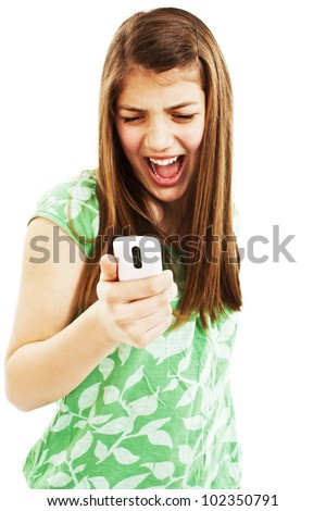 Beautiful girl screaming in the phone. Isolated on white background. - stock photo