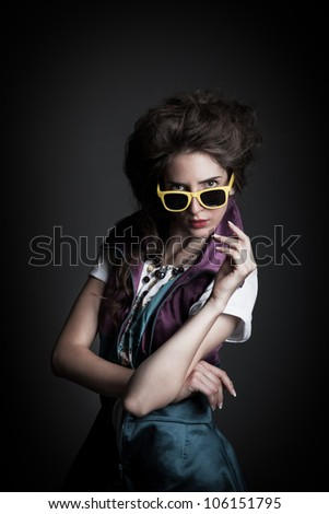 beautiful girl shoot in the studio/beautiful girl 1/ - stock photo