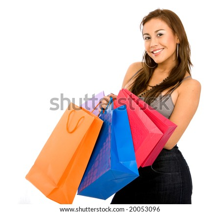 Beautiful girl shopping bags isolated over a white background