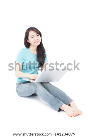 beautiful girl sitting on the floor with laptop computer, isolated on white background
