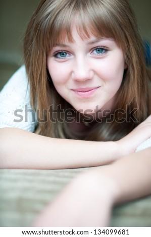 Beautiful girl smiling at camera - stock photo