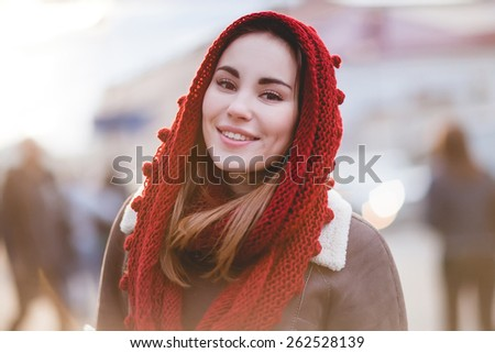 beautiful girl smiling on a sunny day, Taken with a fast aperture - stock photo