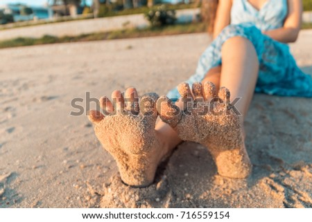 beautiful girl soles sand stock photo (royalty free) 716559154