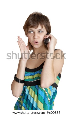 beautiful girl speaking by phone emotionally - stock photo
