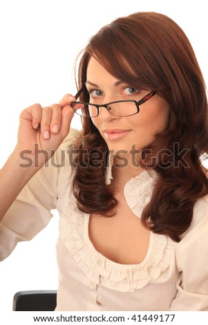 Beautiful girl spectacled. - stock photo