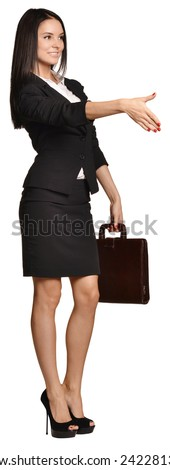 Beautiful girl stretches out his hand and greeting to another holding leather briefcase - stock photo