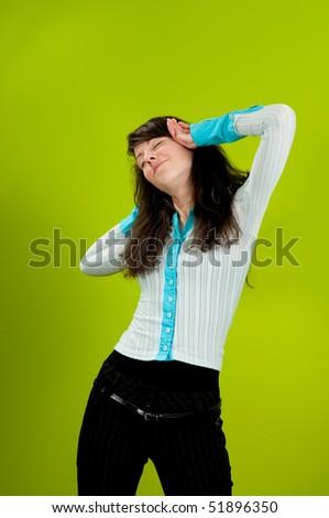 Beautiful girl stretching at work - stock photo