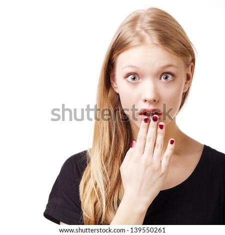 beautiful girl surprised portrait isolated - stock photo