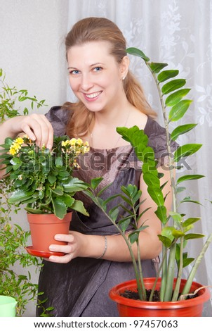 Beautiful girl takes care of indoor plants - stock photo