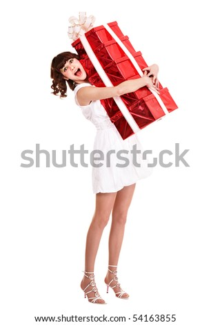Beautiful girl taking stack of gift box. Isolated. - stock photo