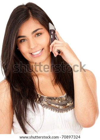 Beautiful girl talking on the phone - isolated over white - stock photo