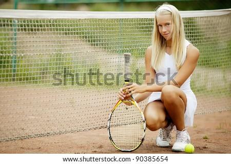 beautiful girl tennis player - stock photo
