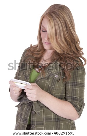 Beautiful Girl Texting on an Isolated Background