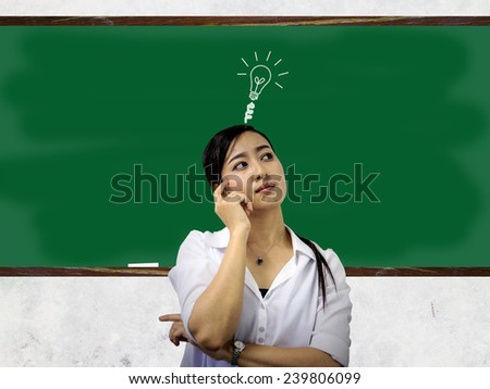 beautiful girl think over lighting up dust on their heads. show on green chalkboard