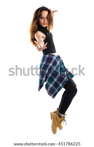 Beautiful girl urban dancer - stock photo