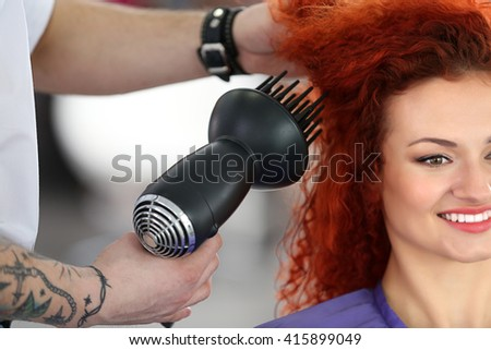 Beautiful girl visit hairdressing salon - stock photo