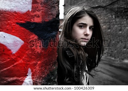 beautiful girl walking teenager - stock photo