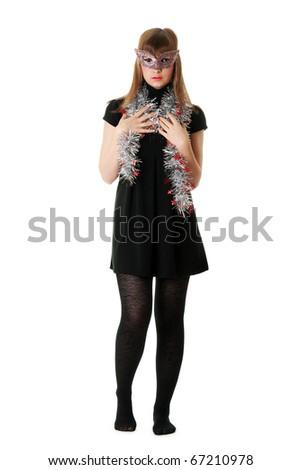 Beautiful girl wearing a mask on white background - stock photo