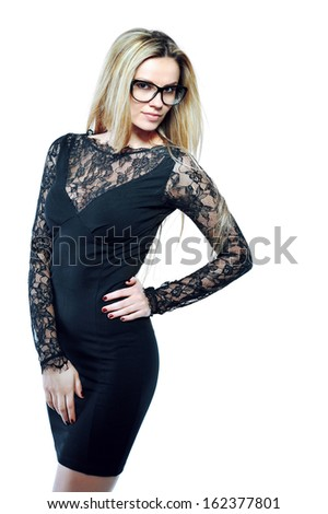 Beautiful girl wearing glasses isolated on white - copyspace  - stock photo