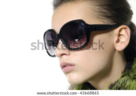 beautiful girl wears sunglasses