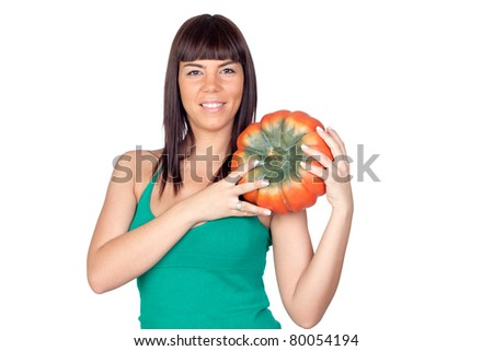 Beautiful girl with a big pumpkin on a over white background