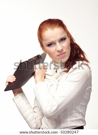 Beautiful girl with a black folder in hands.
