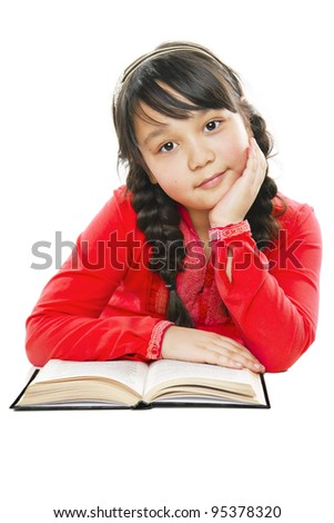 beautiful girl with a book - stock photo