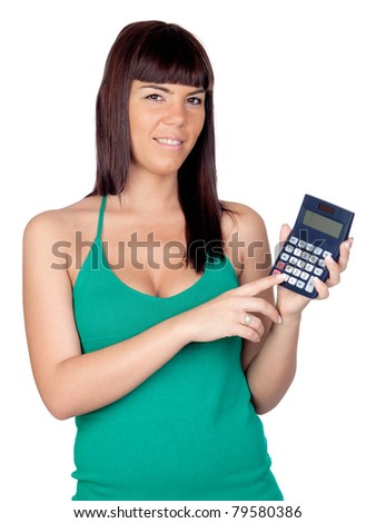 Beautiful girl with a calculator isolated on a over white background
