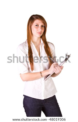 Beautiful Girl With a Clipboard on an Isolated Background
