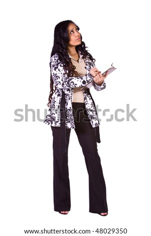 Beautiful Girl With a Clipboard on an Isolated Background - stock photo