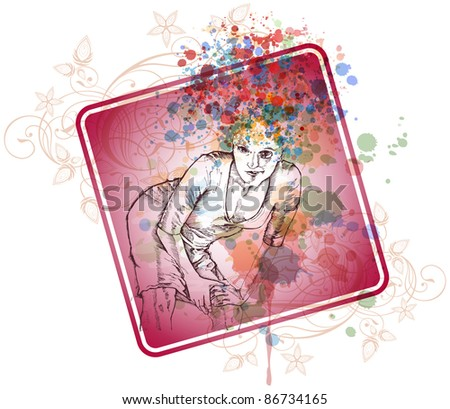 Beautiful girl with a crazy hairdo of spray color paint. Bitmap copy my vector ID 71112238 - stock photo