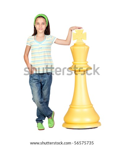 Beautiful girl with a huge piece of chess isolated on white background - stock photo