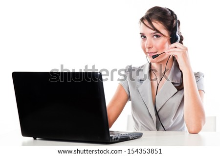 beautiful girl with a laptop and headset - stock photo