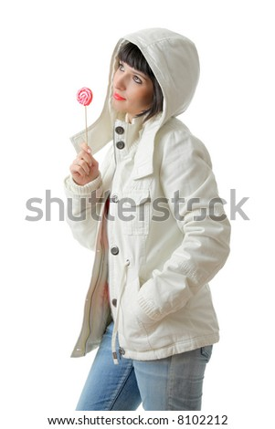Beautiful girl with a lollipop isolated on white background