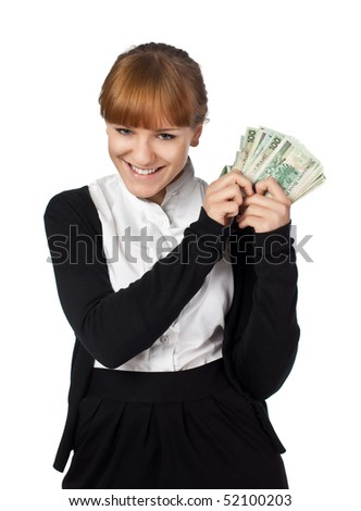 Beautiful girl with a pack of Poland money in a hand - stock photo