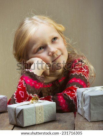 beautiful girl with a presents  - stock photo