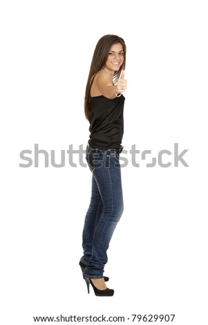 beautiful girl with a raised thumb isolated on a white background