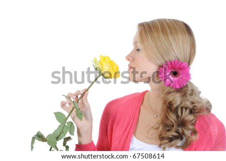 beautiful girl with a yellow rose. Isolated on white background - stock photo